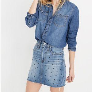 Madewell denim straight heart skirt